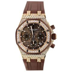 Audemars Piguet Ladies Rose Gold Diamond Royal Oak Chronograph Wristwatch