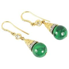 Malachite and Diamond Drop Earrings