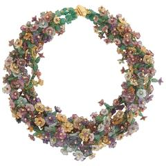 Rebecca Koven Multi Gem Botticelli Wreath Necklace