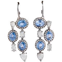 Sapphire Rose Cut Diamond Pendant Earrings