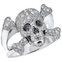 Marisa Perry Rock Star Diamond White Gold Skull Ring