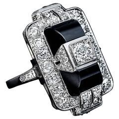 Art Deco Onyx and Diamond Gold Ring circa 1925