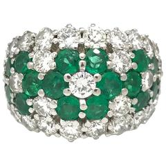 Emerald and Diamond Flower Cocktail Wide Band Ring in Platinum