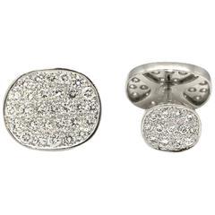 Oval-Shaped Diamond Pave Cufflinks with 7.50 Carat Diamonds in Platinum