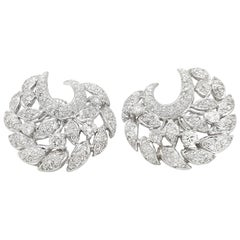 Diamond Floral Spray Earrings 3.31 Carat in 18 Karat White Gold