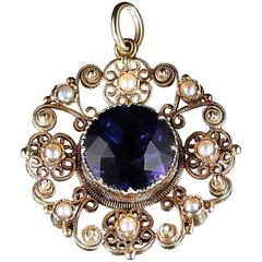 Antique Georgian Gold Pendant Amethyst Centre, circa 1800