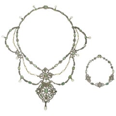 Georgian Pearl Emerald and Diamond Necklace and Bracelet Suite, Silver Upon Gold