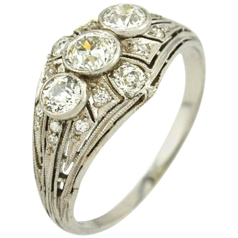 Art Deco Three-Stone Diamond Platinum Ring 1