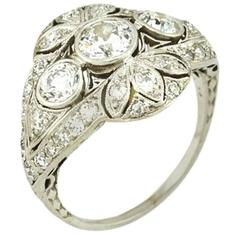 Edwardian Old European Cut Diamond Platinum Ring