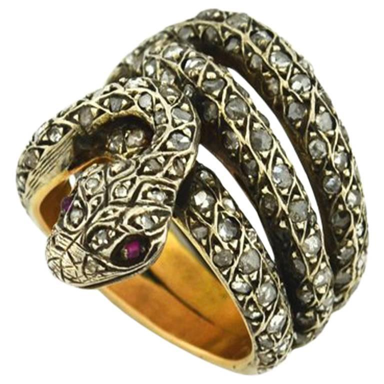 Rose Cut Diamond and Ruby Snake Ring