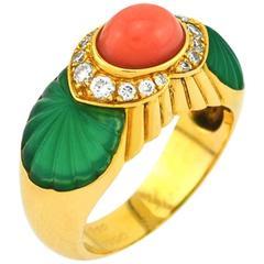 Cartier Coral Chrysoprase Diamond Gold Ring
