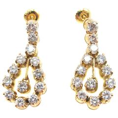 Diamond Gold Pendant Earrings