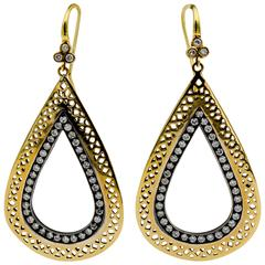 Ray Griffiths 18 Karat Yellow Gold, Silver 1.75 ctw Diamond Earrings