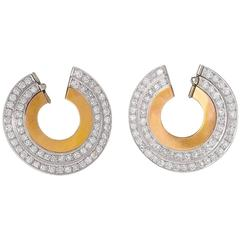 French Art Deco Diamond and Gold Earring