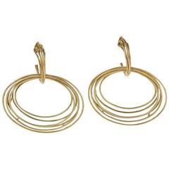 Italian 1970's  Modernist Gold Earrings