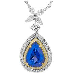 2.97 Carat Tanazanite Diamond Double Halo Necklace