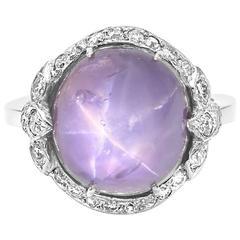 Edwardian Star Sapphire Pave Diamond Halo Platinum Ring
