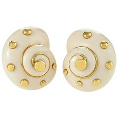 Verdura Cachalong Opal and Gold Snail Shell Earrings