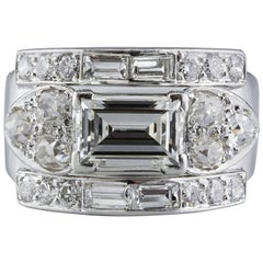 Art Deco Emerald Cut Diamond Gold Ring