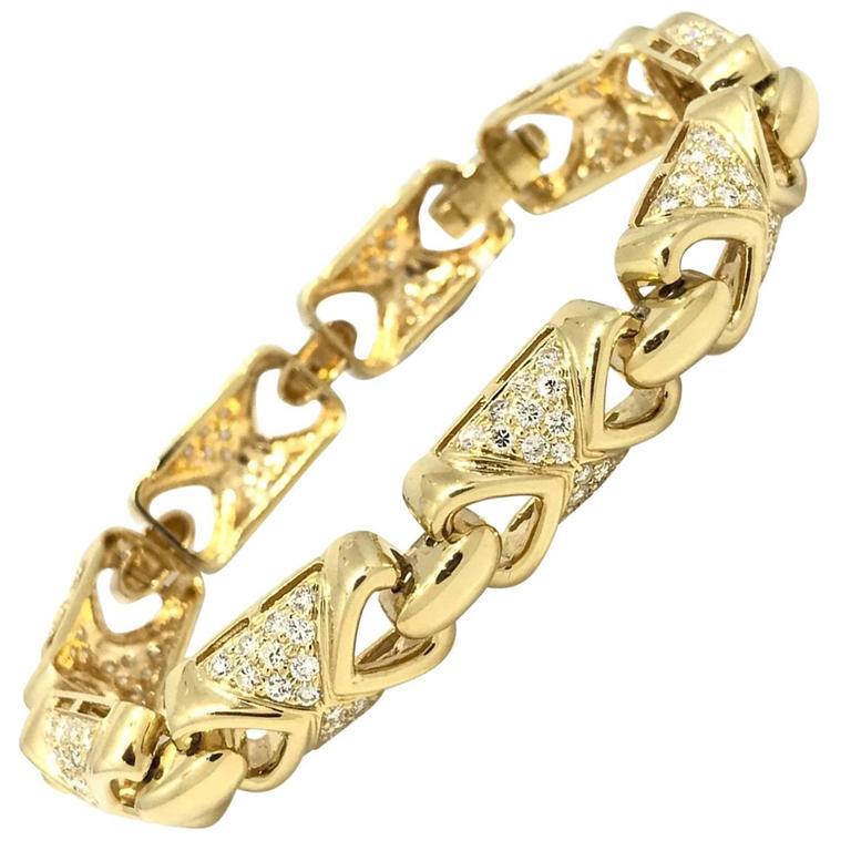 4.45 Carat Diamond Link Bracelet in 18 Karat Yellow Gold