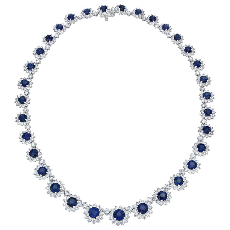 26.54 Carat Round Sapphire and Diamond Necklace in 18 Karat White Gold