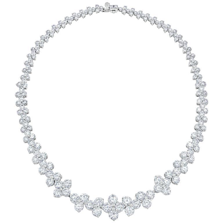 35.30 Carat Round Brilliant Cut Diamond Platinum Necklace