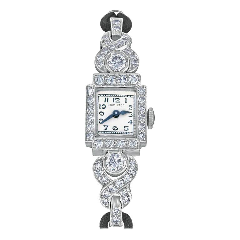 Hamilton ladies Platinum Diamond automatic Wristwatch For Sale