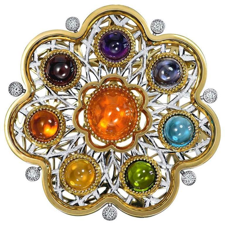 Diamond Garnet Ruby Peridot Topaz Citrine Iolite Amethyst Gold Brooch Pendant 1