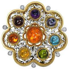 Diamond Garnet Ruby Peridot Topaz Citrine Iolite Amethyst Gold Brooch Pendant