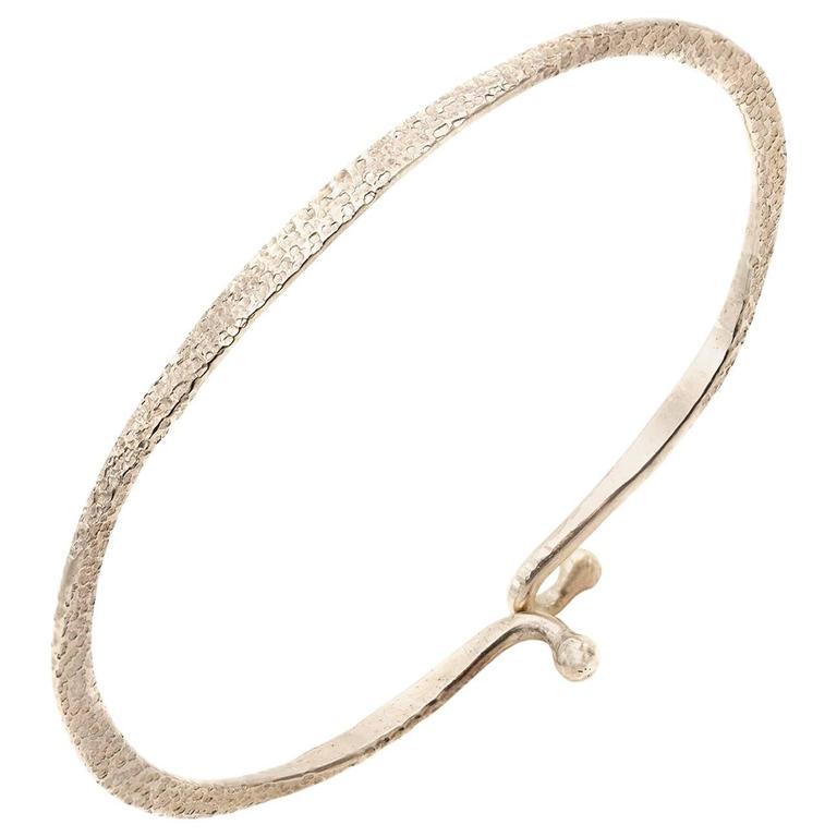 Hammered Sterling Silver Bangle Bracelet