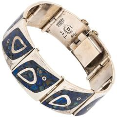 Mexican Sterling Silver Link Bracelet with Lapis Inlay