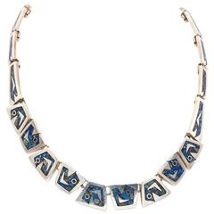 Handmade Mexican Sterling Silver Link Necklace with Lapis and Chrysicola Inlay