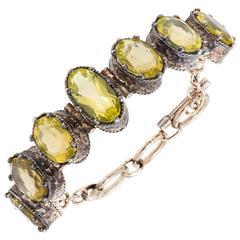 Rose Cut Citrine 'Lemon Quartz' and Sterling Silver Faceted Link Bracelet