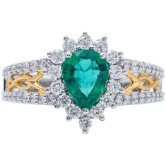 Pear Shape Emerald and Diamond Halo Two-Tone Ring