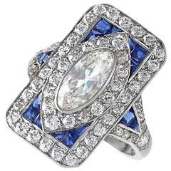 1920's Art Deco Diamond Sapphire and Platinum Plaque Ring
