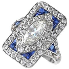 1920's Art Deco Diamond Sapphire and Platinum Plaque Ring