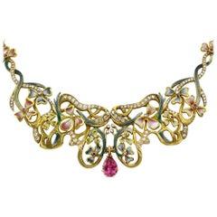 Diamond Gemstone Enamel Floral Gold Statement Necklace