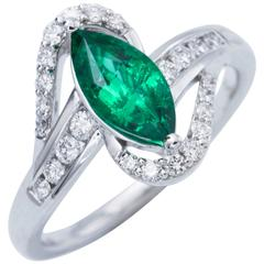 Marquise Emerald Diamond Accents Gold Ring