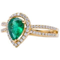 Pear Shape Emerald Diamond Yellow Gold Halo Engagement Ring