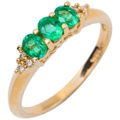 Oval Emerald Tree Stone Ring and Diamond Accent 14 Karat Yellow Gold Band