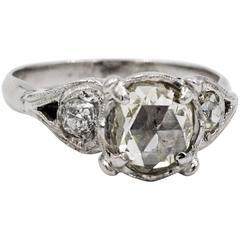 Vintage Palladium Rose Cut Diamond Ring with Mine Cut Diamond Sides