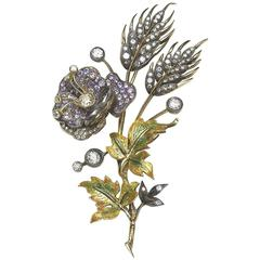 Enamel, Sapphire and Diamond Flower Brooch