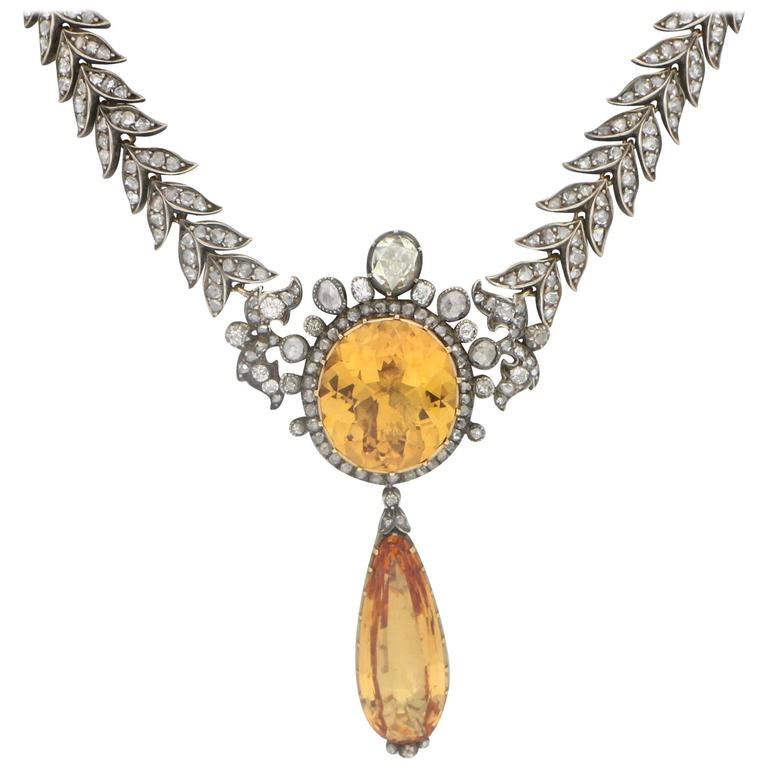 Victorian 1860s Topaz Diamond Necklace