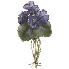 Austrian Violet Flower Brooch