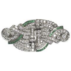 Emerald and Diamond Double Clip