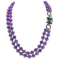 Luise Diamonds Amethyst Onyx Green Malachite Gold Silver Multi-Stands Necklace