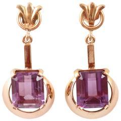18 Karat Yellow Gold Amethyst Earrings