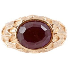 Large Amethyst Yellow Gold Ring