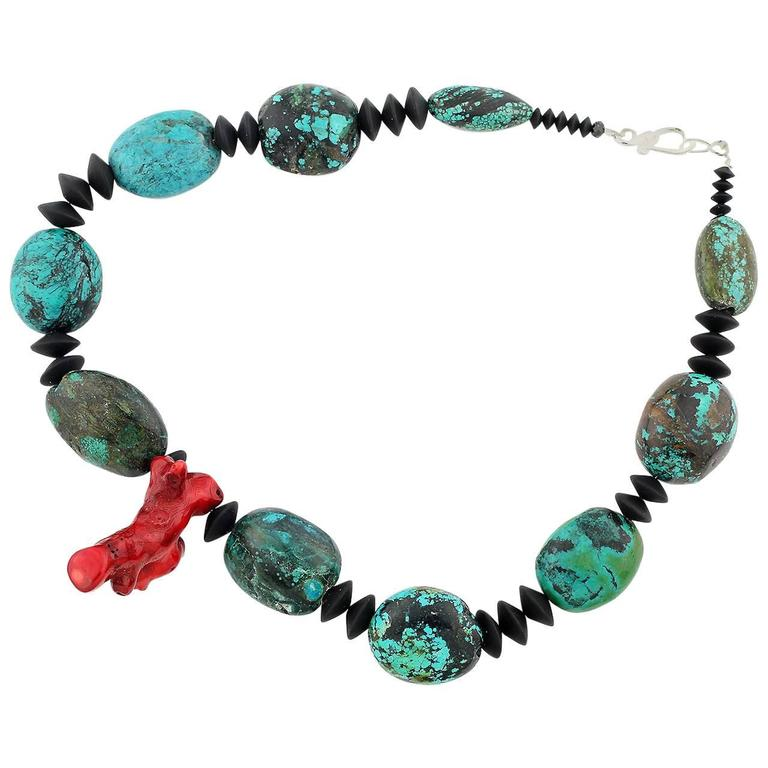 Chinese Turquoise and Red Coral Necklace