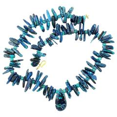 Magnificent Chrysocolla and Apatite Necklace